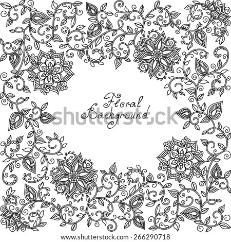 vector black and white floral pattern of spirals, swirls, doodles - stock vector