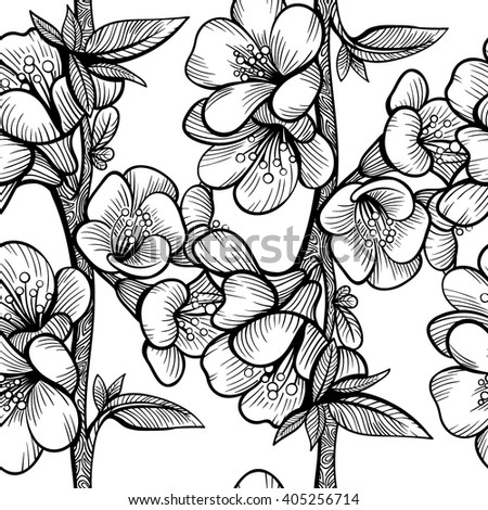 Vector Black and White Flower Seamless Pattern