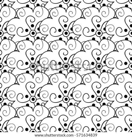 Vector black white flower seamless pattern stock vector 571634839 vector black and white flower seamless pattern simple monochrome flower print floral cute doodle mightylinksfo