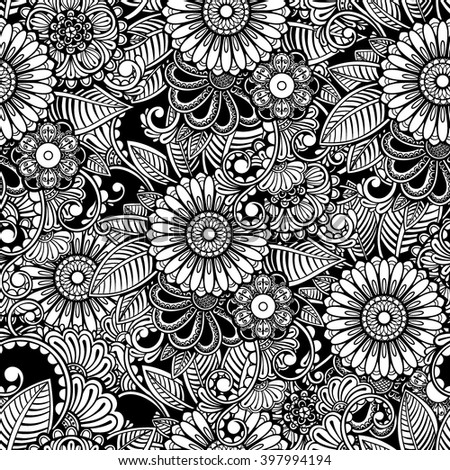 Vector Black and White Flowers Seamless Pattern