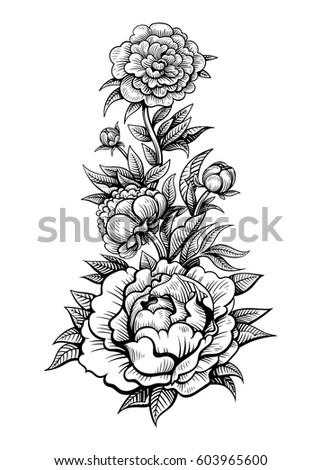 Vector black white flowers tattoo on stock vector 603965600 vector black and white flowers tattoo on white background mightylinksfo