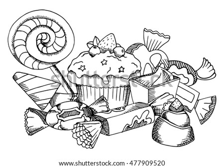 Vector Black White Food Coloring Book Stock Vector (Royalty Free ...