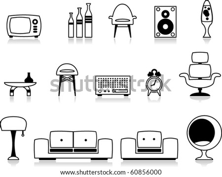 vector black and white furniture icons - stock vector