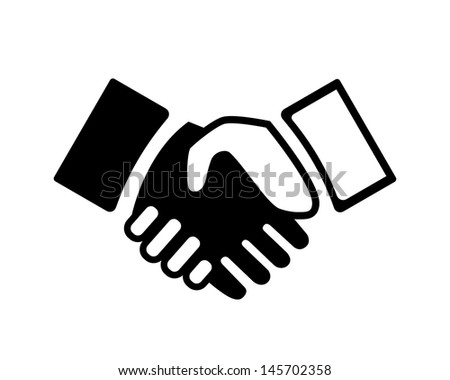 Vector black and white Hand shake icon - stock vector