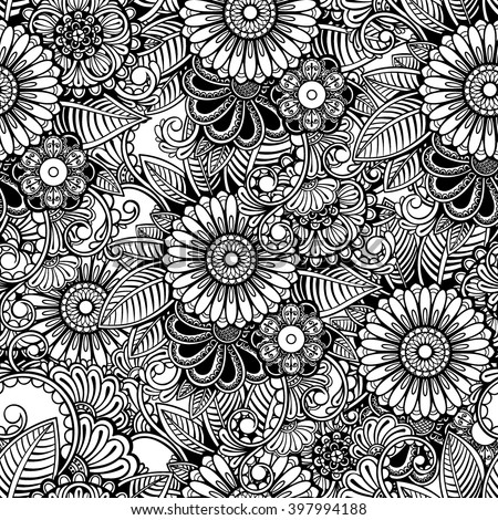 Vector Black and White Henna Flowers Seamless Pattern