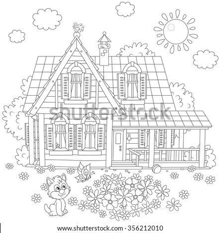 Vector black and white illustration of a country house, a flowerbed and a small kitten playing with a butterfly