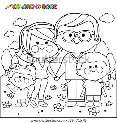 Vector black and white illustration of a happy family at the park: Two parents and their children, a girl and a boy. Coloring book page. - stock vector