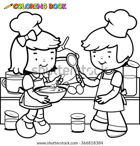 Vector black and white illustration of children cooking in the kitchen. - stock vector