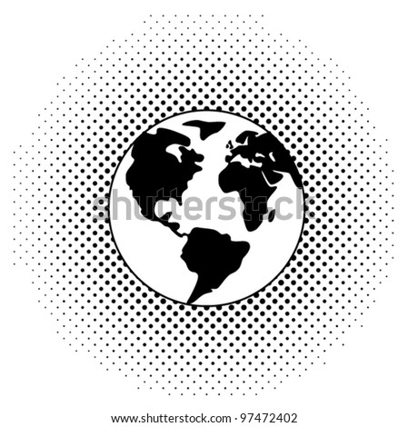 vector black and white illustration of earth globe - stock vector