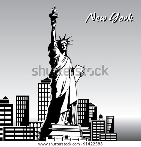 vector black and white image of the Statue of Liberty in New York - stock vector