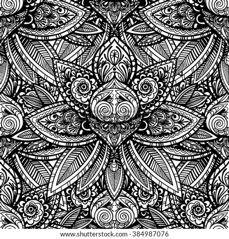 Vector black and white indian flower seamless pattern