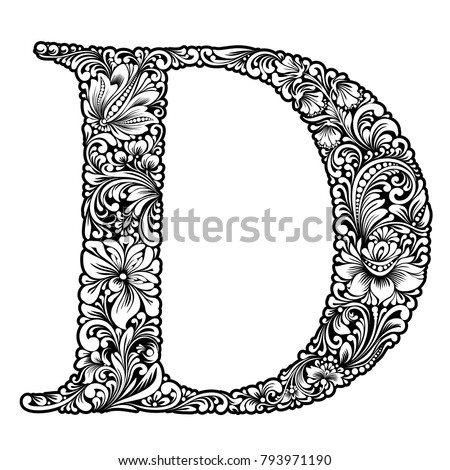 Vector Black And White Initial Letter D With Flowers Floral Vintage Ornament For Design Capital