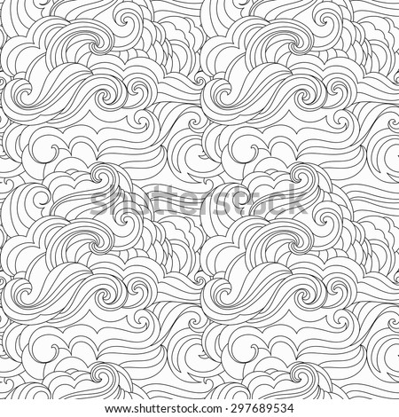 Vector black and white  inky hand drawn free style marine background. Abstract waves seamless pattern. - stock vector