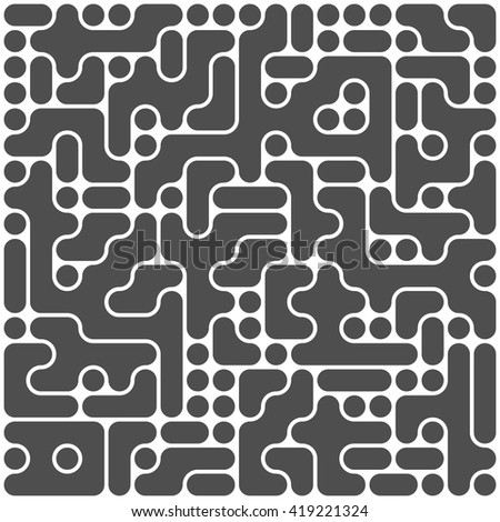 Vector Black And White Irregular Grid Line Circuit board. Maze Pattern vector. - stock vector