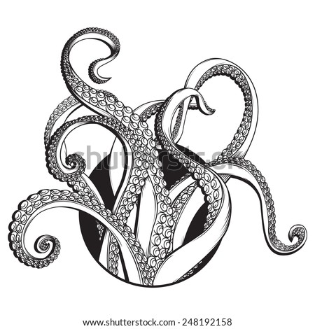 Vector Black and white line drawing of / Tentacles Line drawing / Easy to edit layers and groups, remove 4 tentacles to simplify, EPS 10, JPG files included. Black and white - stock vector