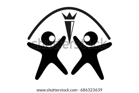 Vector Black And White Logo Two Figures Of A Man Color With Open Arms
