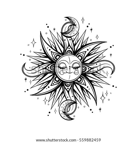 vector black white magic sun moon stock vector 559882459 shutterstock. Black Bedroom Furniture Sets. Home Design Ideas