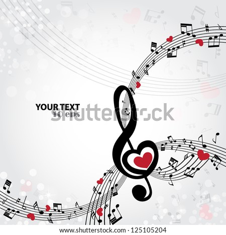 Vector black and white music background with treble clef of heart shaped - stock vector