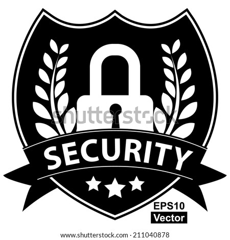 Vector : Black and White Network Security, Privacy or Top Secret Concept Present By Lock Shield Icon With Security Ribbon Isolated on White Background  - stock vector