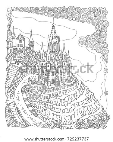 Vector Black And White Outline Contoured Fantasy Landscape Fairy Small Town Buildings River