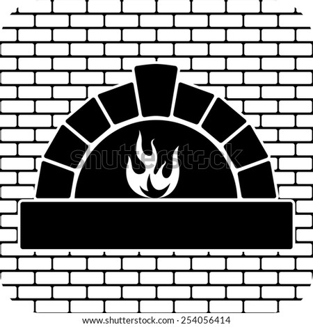 vector black and white oven with burning fire  - stock vector
