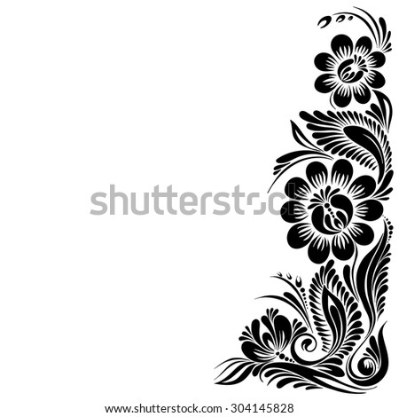 vector Black and white pattern with flowers, an ethnic Ukrainian ornament, - stock vector