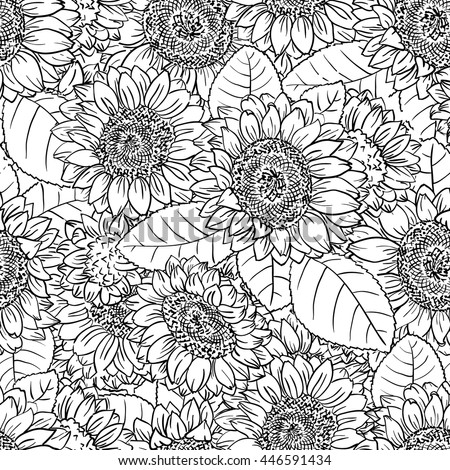 Vector black and white seamless pattern with sunflowers in doodle style - stock vector