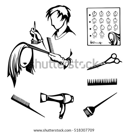 Vector Black White Set Tools Hairdressers Stock Vector 518307709 ...