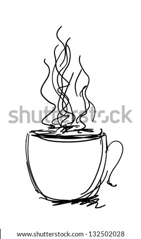 Vector black and white sketch. Cup of coffee