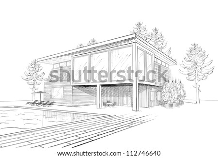 Vector black and white sketch of modern suburban wooden house with swimming pool and chaise lounges - stock vector