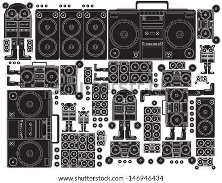 vector black and white tape deck boom box robot - stock vector