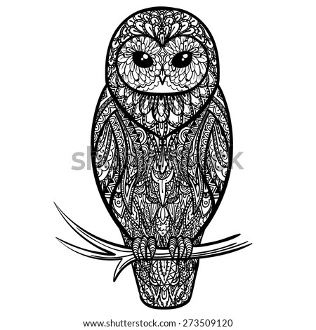 Vector Black and White Tattoo Owl Illustration - stock vector