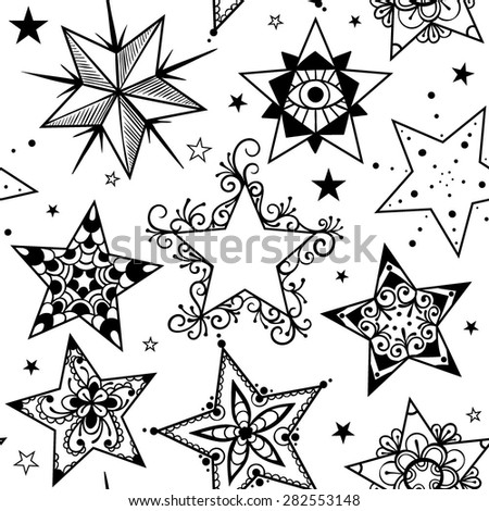Vector Black and White Tattoo Star Seamless Pattern
