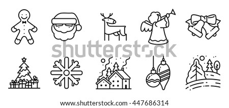 Vector black and white thin simply icons set with Christmas holidays in line art style. Pine tree with gifts, winter night snowy landscape, decorations, Santa, angel, deer and Gingerbread characters - stock vector