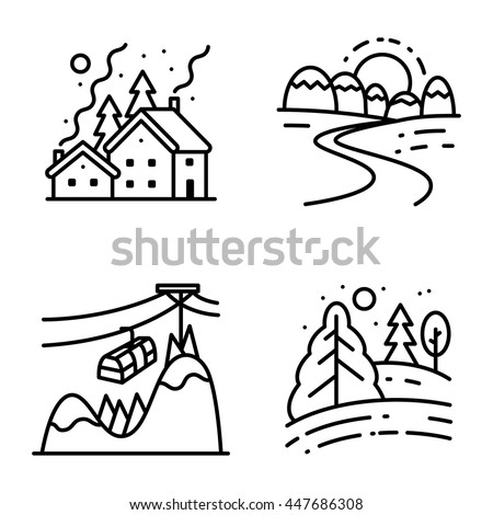 Vector black and white thin simply icons set with winter cute landscapes in line art style. Collection of night Christmas snowy houses, sunrise in mountains, lift at the peak and day in the forest  - stock vector