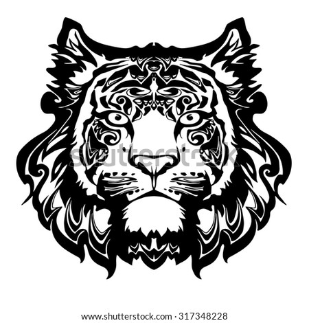 vector black and white tiger head, illustration for design decorative predator - stock vector