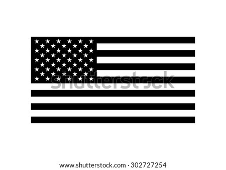Vector black and white USA flag, on white background - stock vector