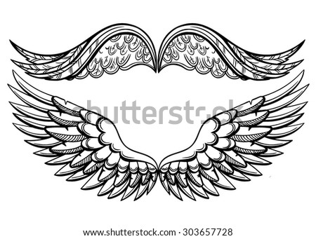 Vector Black and White Wings Pair - stock vector