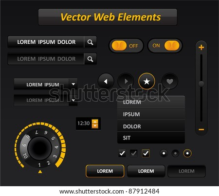 Vector black and yellow media player interface - stock vector