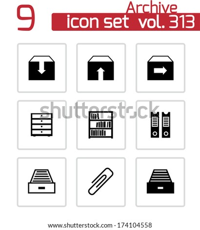 Vector black archive icons set on white background - stock vector