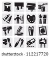 vector black art icons set on gray - stock vector
