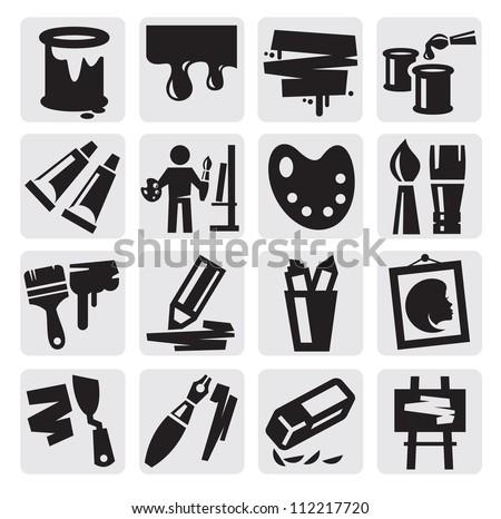 vector black art icons set on gray - stock vector
