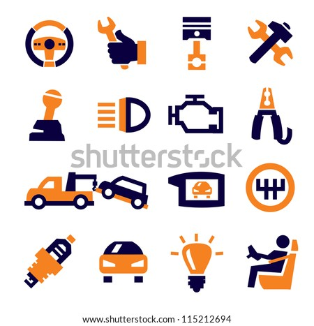 vector black auto and repair icons set on gray - stock vector
