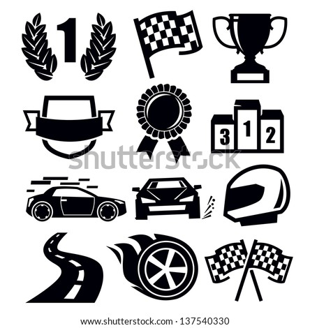 vector black auto and symbols for sports - stock vector