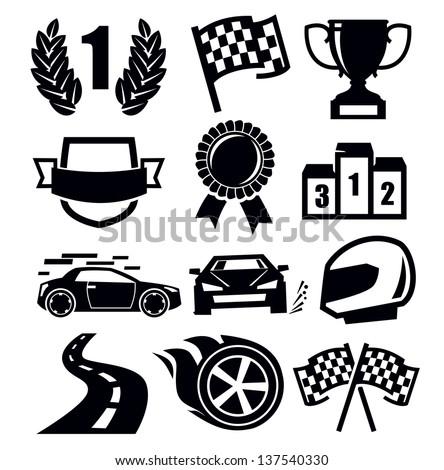 vector black auto and symbols for sports - stock vector