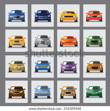 vector black auto icon set on gray - stock vector