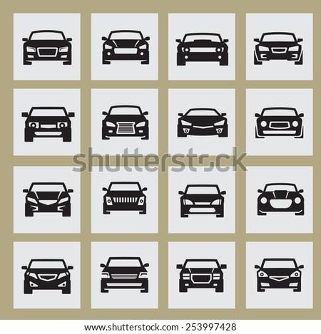 vector black auto icon set on white - stock vector