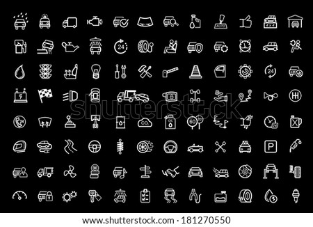 vector black auto icons set - stock vector