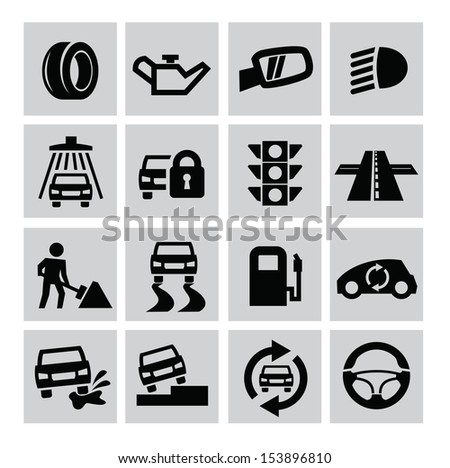 vector black auto icons set on gray - stock vector