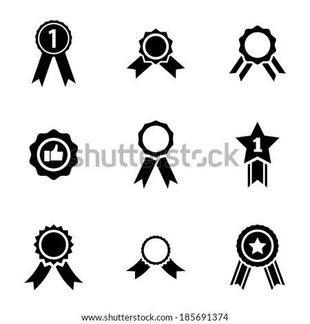 Vector black award medal icons set on white background - stock vector
